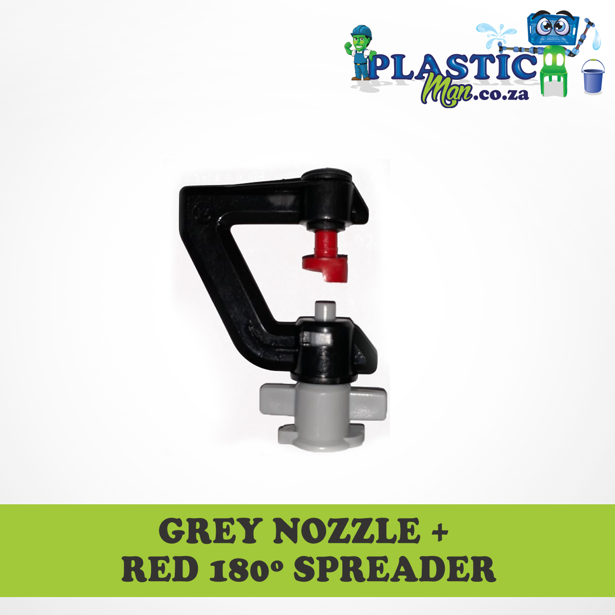 Grey Nozzel + red 180 degree Spreader